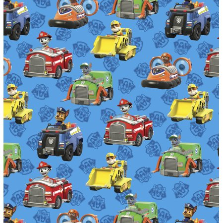 "David Textiles Paw Patrol Cotton 36"" x 44"" Pre-Cut Rescue Cars Fabric, 1 Each"