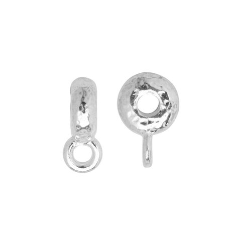 TierraCast Spacer Bail, Hammered with Loop 3x12mm, 2 Pieces, Bright Rhodium Plated ()