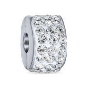 Clear White Crystal Spacer Stopper Bead Charm for Women Teens .925 Sterling Silver Snap Clasp Fits European Bracelet