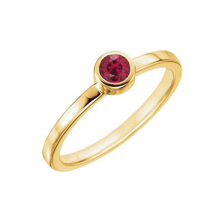 (14k Yellow Gold Gem Quality Chatham® Created Ruby Bezel Set Solitaire Ring)