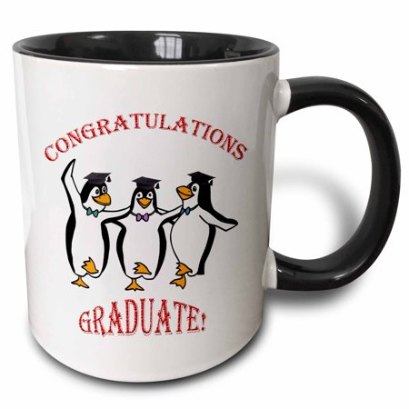 Happy Dancing Penguin (3dRose Graduation happy penguins dancing - Two Tone Black Mug, 11-ounce )