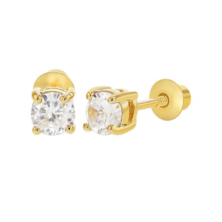 In Season Jewelry 18k Gold Plated April Clear CZ Screw Back Earrings 3mm for Baby Girls