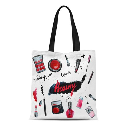 LADDKE Canvas Bag Resuable Tote Grocery Shopping Bags Sketch Watercolor Glamorous Make Up of Cosmetics with Nail Polish and Lipstick Tote Bag