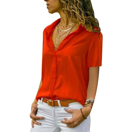 Plus Size Women's Casual Blouse Short Sleeve Solid Color V Neck Tunic Shirt Ladies Fashion Elegant Summer Tops - Elegance Tunic