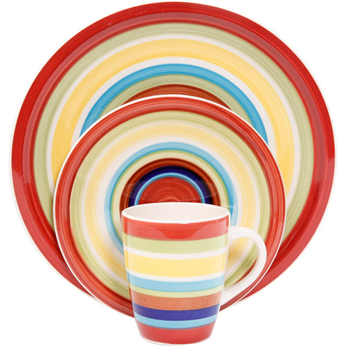 Mainstays Sonoma Stripes 16-Piece Dinnerware Set, Multi-Color