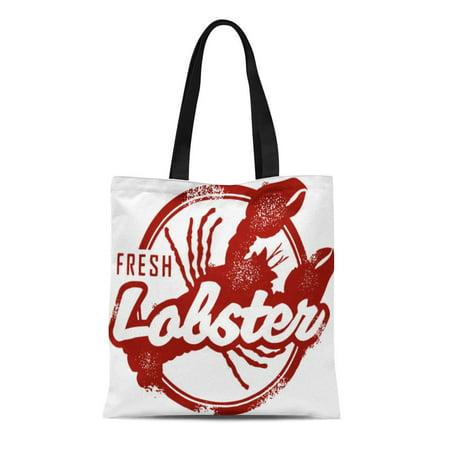 LADDKE Canvas Tote Bag Seafood Vintage Fresh Lobster Stamp England Maine Catch Rubber Reusable Shoulder Grocery Shopping Bags Handbag
