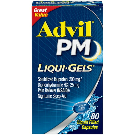 Advil PM (80 Count) Pain Reliever / Nighttime Sleep Aid Liquid Filled Capsule, 200mg Ibuprofen, 38mg (Best Pain Pill For Toothache)