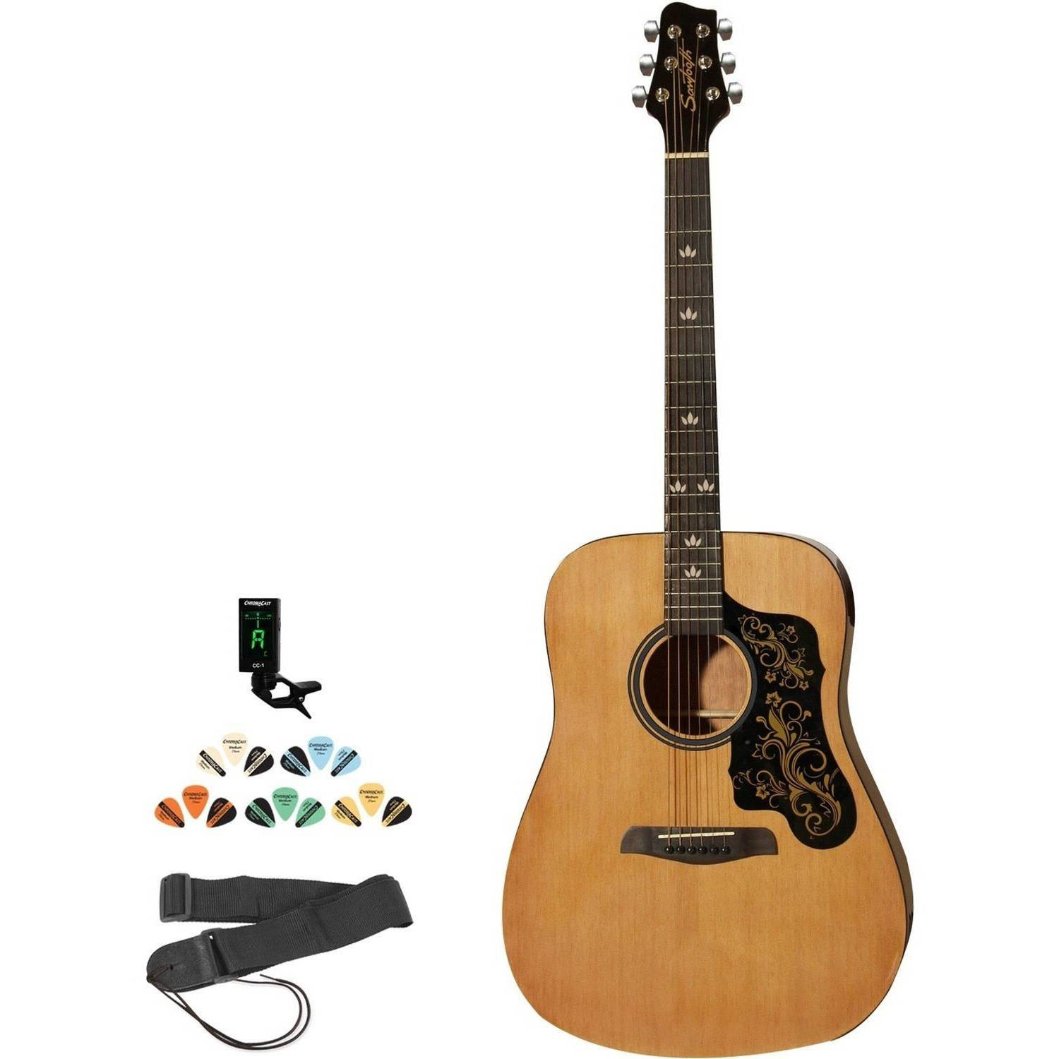 Sawtooth Beginner's Acoustic Dreadnought Guitar with Custom Black Pickguard Kit with ChromaCast Accessories