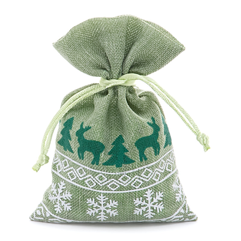 12ea - 4 X 6 Green Christmas Faux Linen Bags by Paper Mart