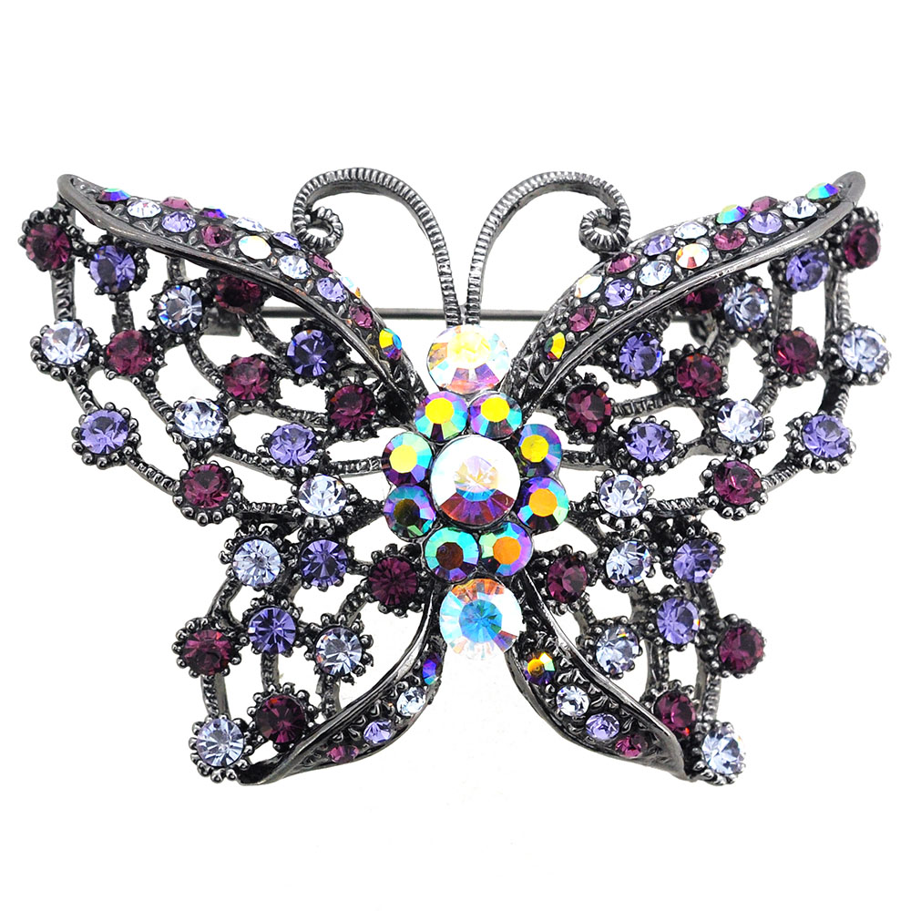 Amethyst Purple Butterfly Pin Swarovski Crystal Pin Brooch and Pendant by