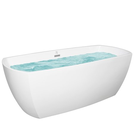 69 Inch White Acrylic Bathtub – Modern Flat Bottom Stand Alone Bathtub – Luxurious SPA Soaking