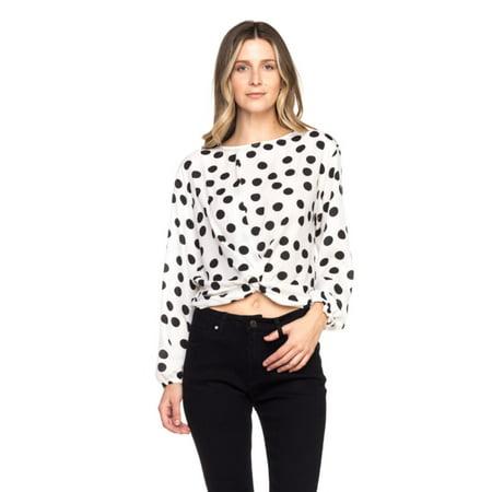 OFASHIONUSA Women's Polka Dot  Long Sleeve Round Neckline Back Self Tie Blouse Shirt Top