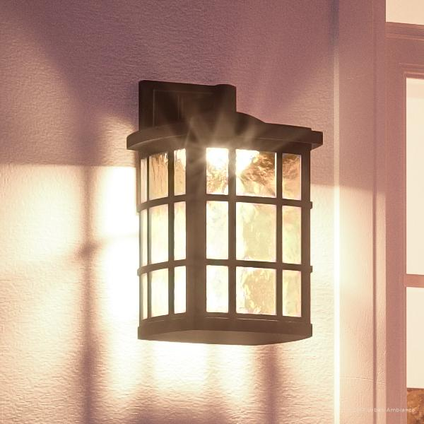 """Urban Ambiance Luxury Craftsman Outdoor Wall Light, Medium Size: 17""""H x 11""""W, with Tudor Style Elements, Oil Rubbed Parisian Bronze Finish and Water Glass, Integrated LED Technology, UQL1245"""