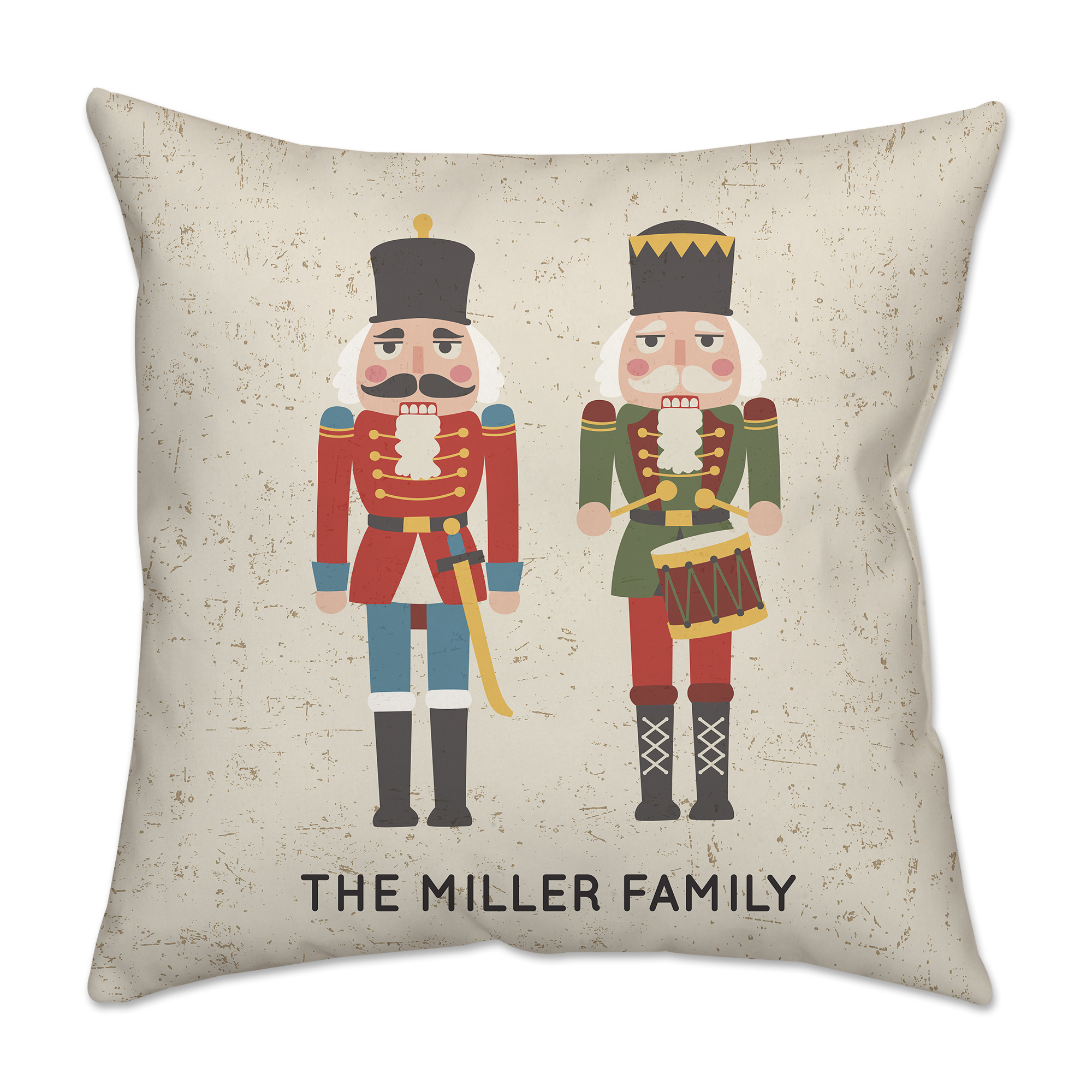 Personalized Christmas Soldier Poplin Square Throw Pillow in Red