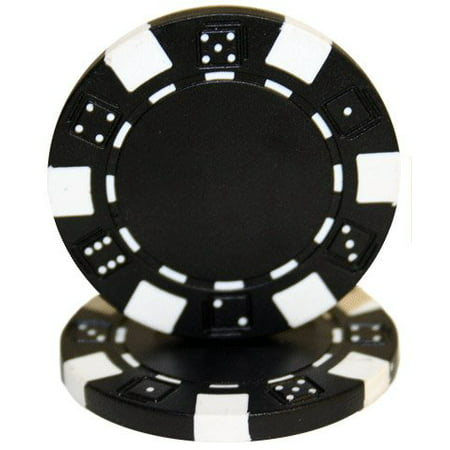 25 Clay Composite Dice Striped 11.5 gram Poker Chips, Black, Black Chips By Las Vegas Poker