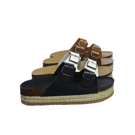 Atarah03 by Forever Link, Vintage Molded Footbed Cork & Espadrille Flatform Slide Sandal