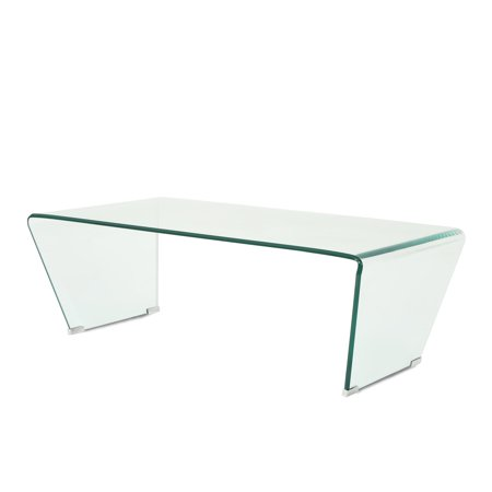 Cecil Contemporary Modern Tempered Glass Coffee Table,