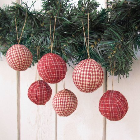 Rustic Red Plaid Homespun Christmas Ball Ornaments Set of 12