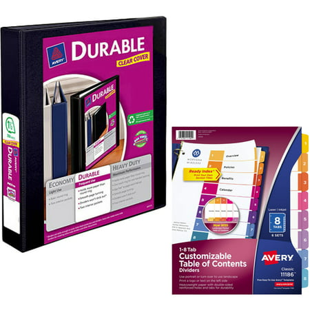 Avery Durable Reference Vinyl EZ-Turn Ring View Binder, 1-1/2