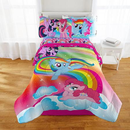 my little pony rainbow twin comforter & sheet set (4 piece