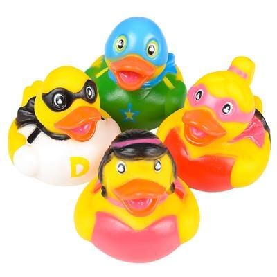 Rhode Island Novelty - Rubber Ducks - SUPER HERO DUCKIES (Set of 4 Styles) (Superhero Rubber Ducks)