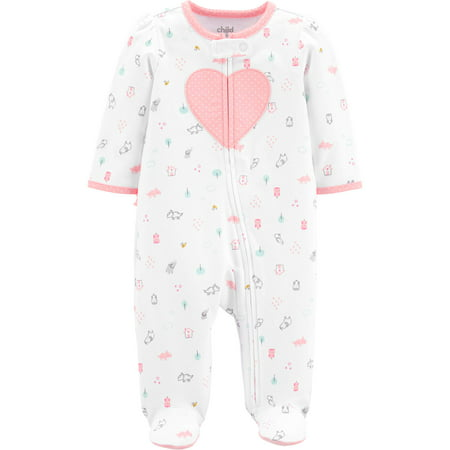 Child of Mine by Carter's Zip-up Sleep N Play Pajama (Baby Girls)](Girls Button Up Pajamas)