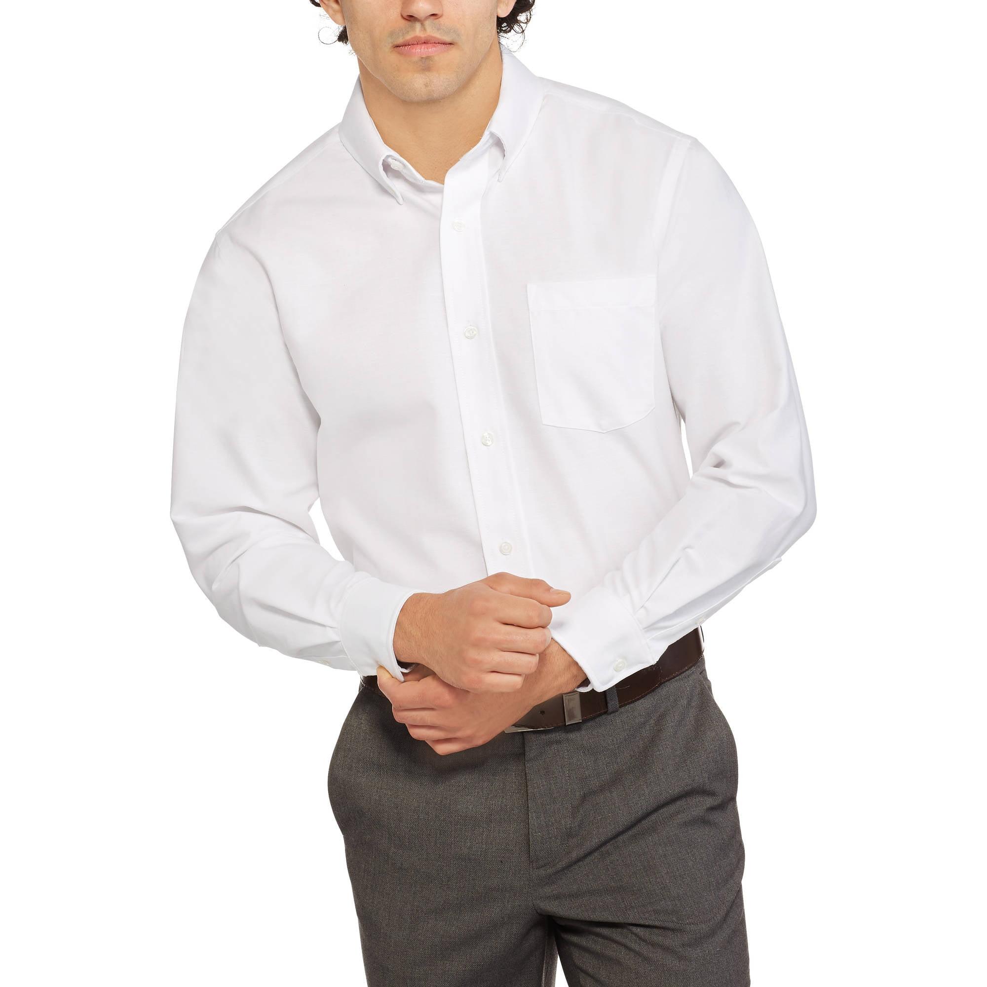 George Men's Long Sleeve Oxford Dress Shirt