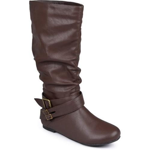 Brinley Co. - Women's Slouchy Side Buckle Flat Boots