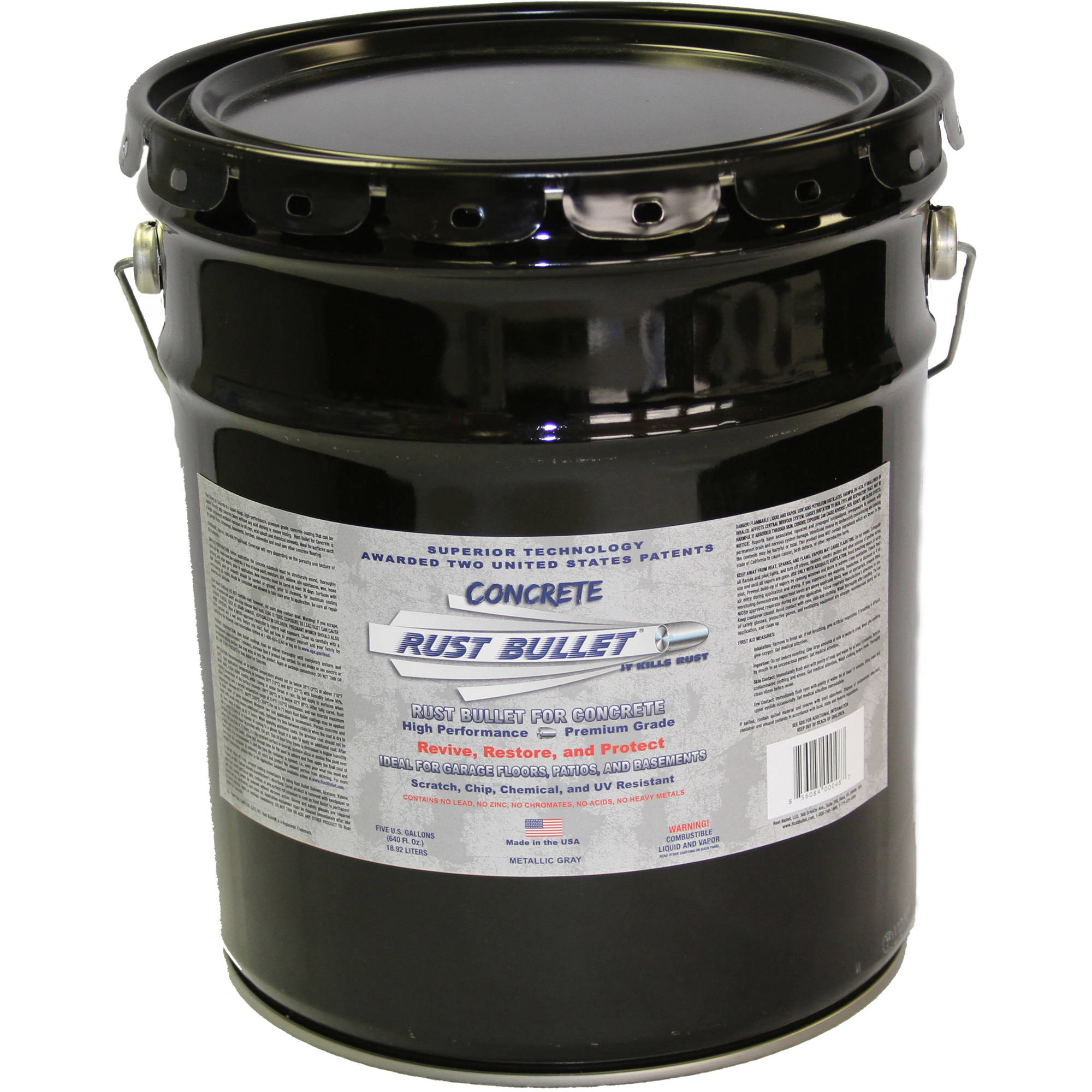 Rust Bullet For Concrete, Protective Floor Coating, 5-Gallon Pail