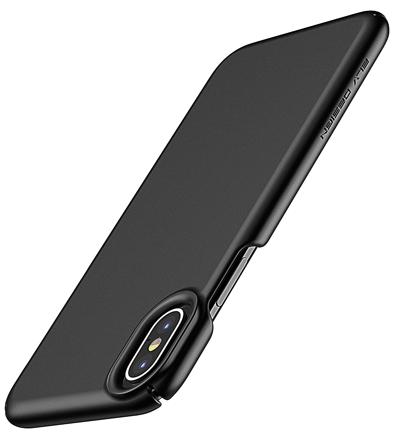 iPhone X Case, ELV iPhone X 10 Slim Premium Hard PC Snap-on Case Anti-Slip Matte Coating for Perfect Grip Hybrid with Inbuilt Microfiber Case Cover for Apple iPhone X / iPhone 10 (BLACK)