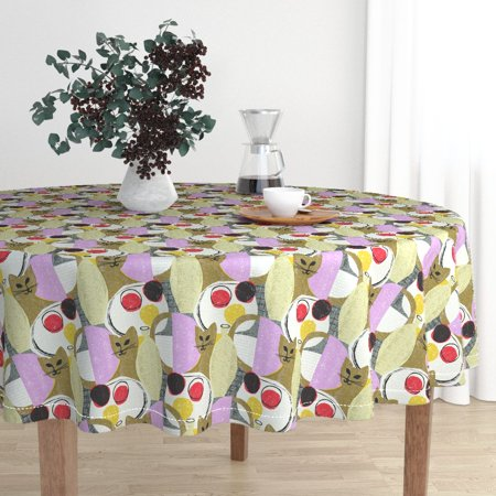 Round Tablecloth Mid Century Modern Kitten Mod Scandi Cat Kitten Cotton Sateen
