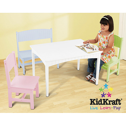KidKraft - Nantucket Long Table with Bench and 2 Chairs, Pastel