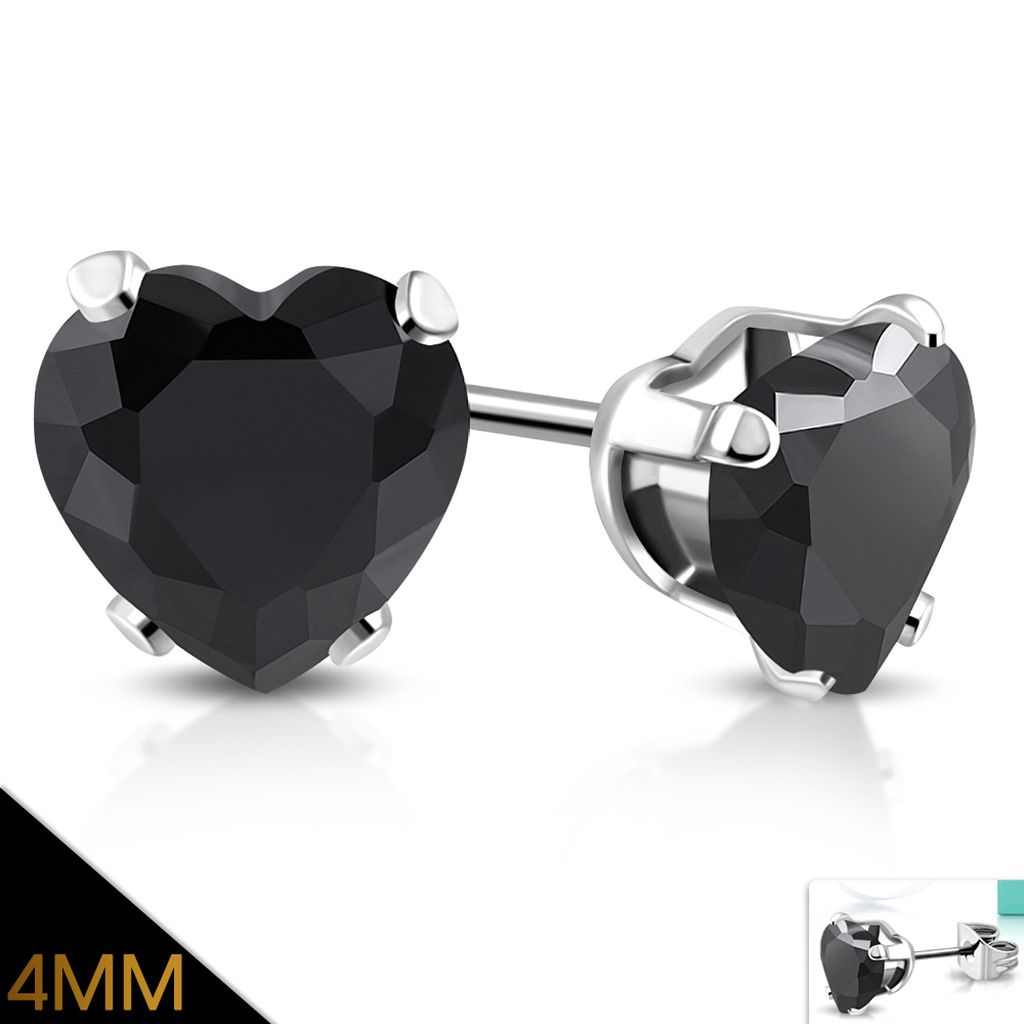 4mm Stainless Steel Prong Set Love Heart Stud Earrings with Jet Black CZ pair