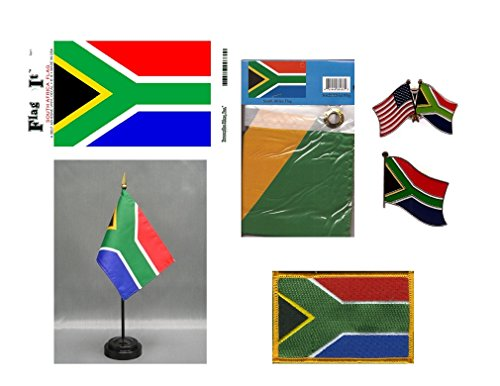 3x5 Flag, Decal, Lapel Pins, /& Desk Flag South Africa Heritage Flag Set