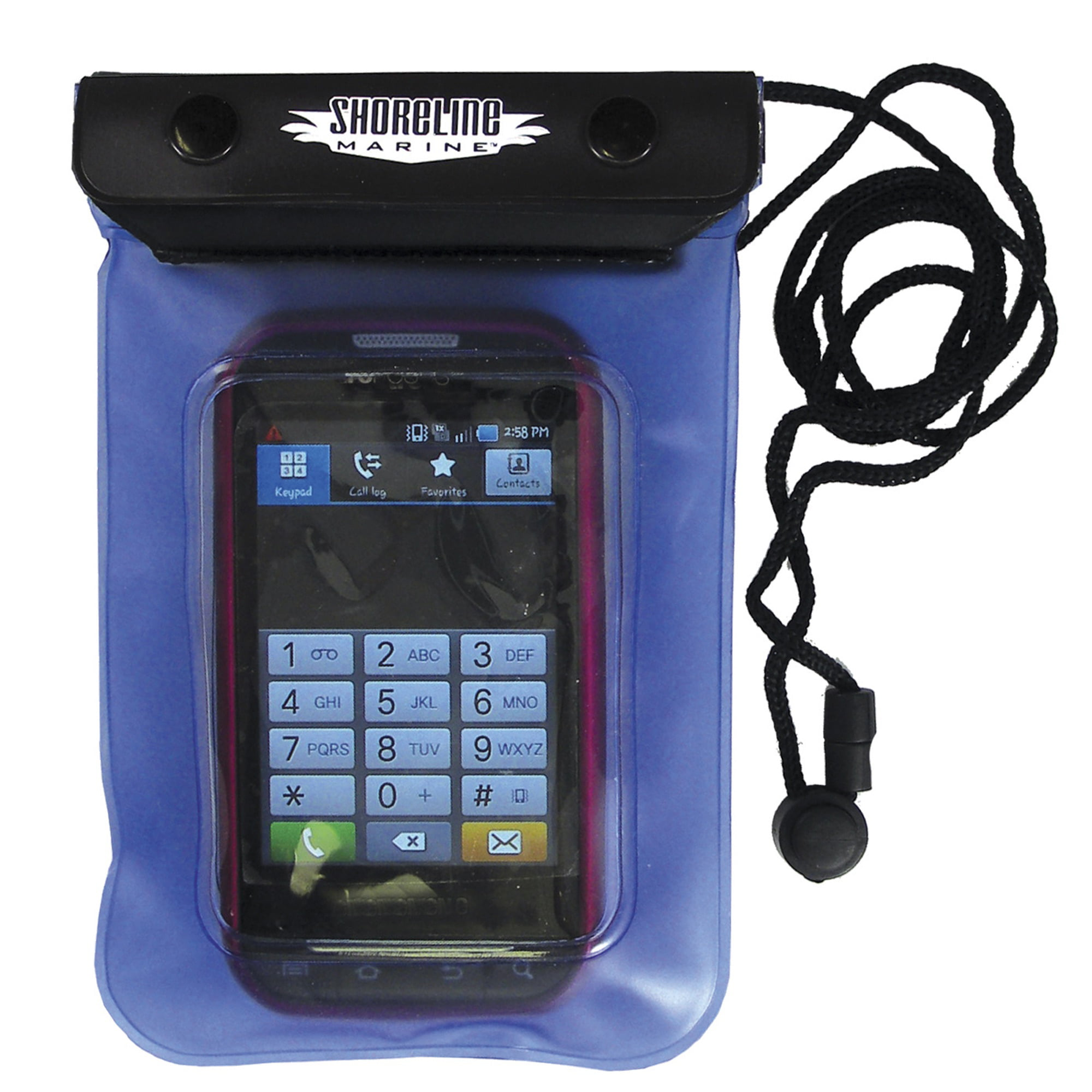 """Shoreline Marine Waterproof Phone/Camera Dry Pouch, 4 2/5"""" x 6 2/5"""", Clear/Blue"""