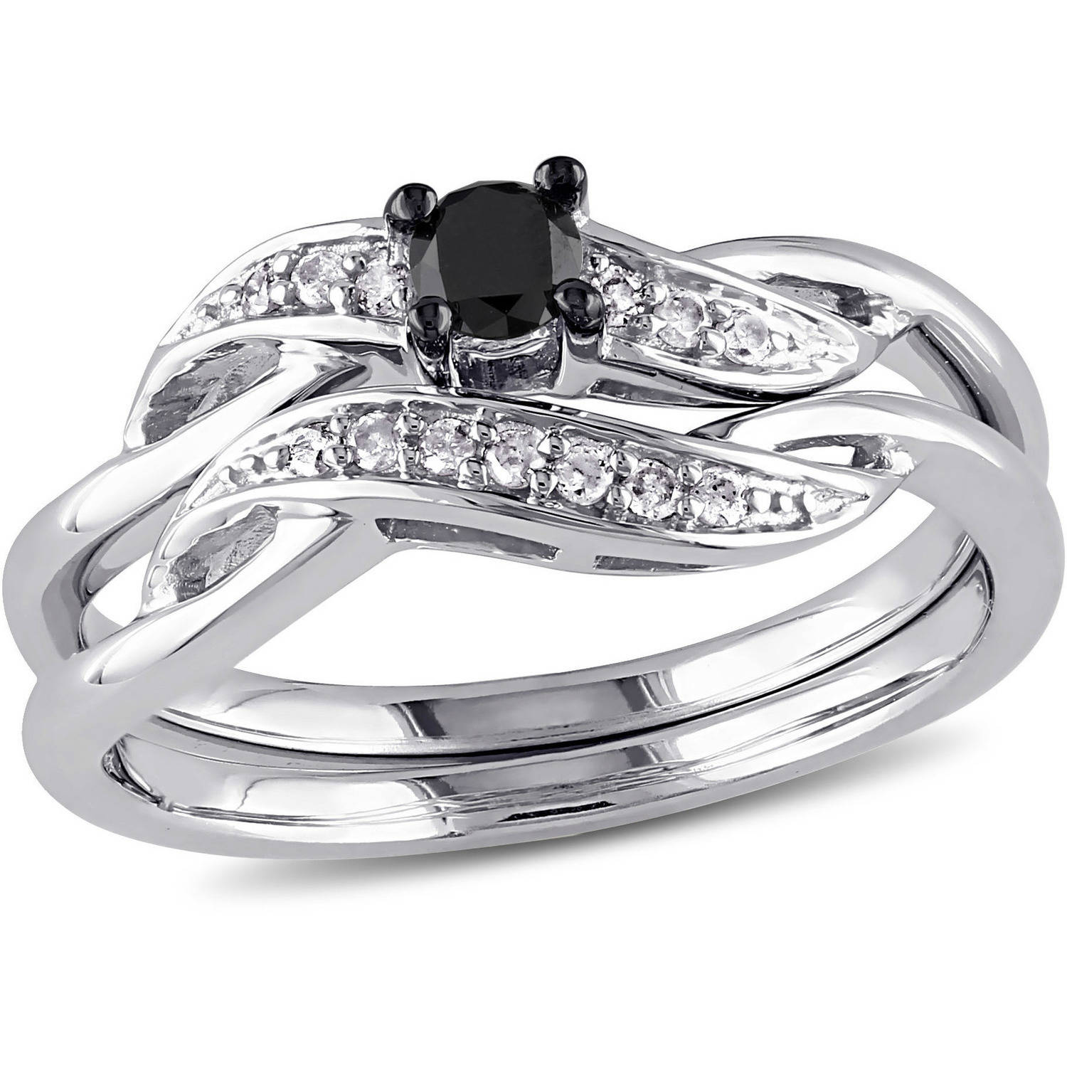 Asteria 1/4 Carat T.W. Black and White Diamond Sterling Silver Bridal Ring Set