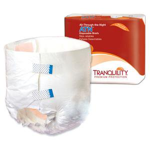 Tranquility ATN (All-Through-the-Night) Disposable Brief 34 oz Capacity, Latex-Free, X-Large 56'' to 64'', Pack of (Latex Underwear)