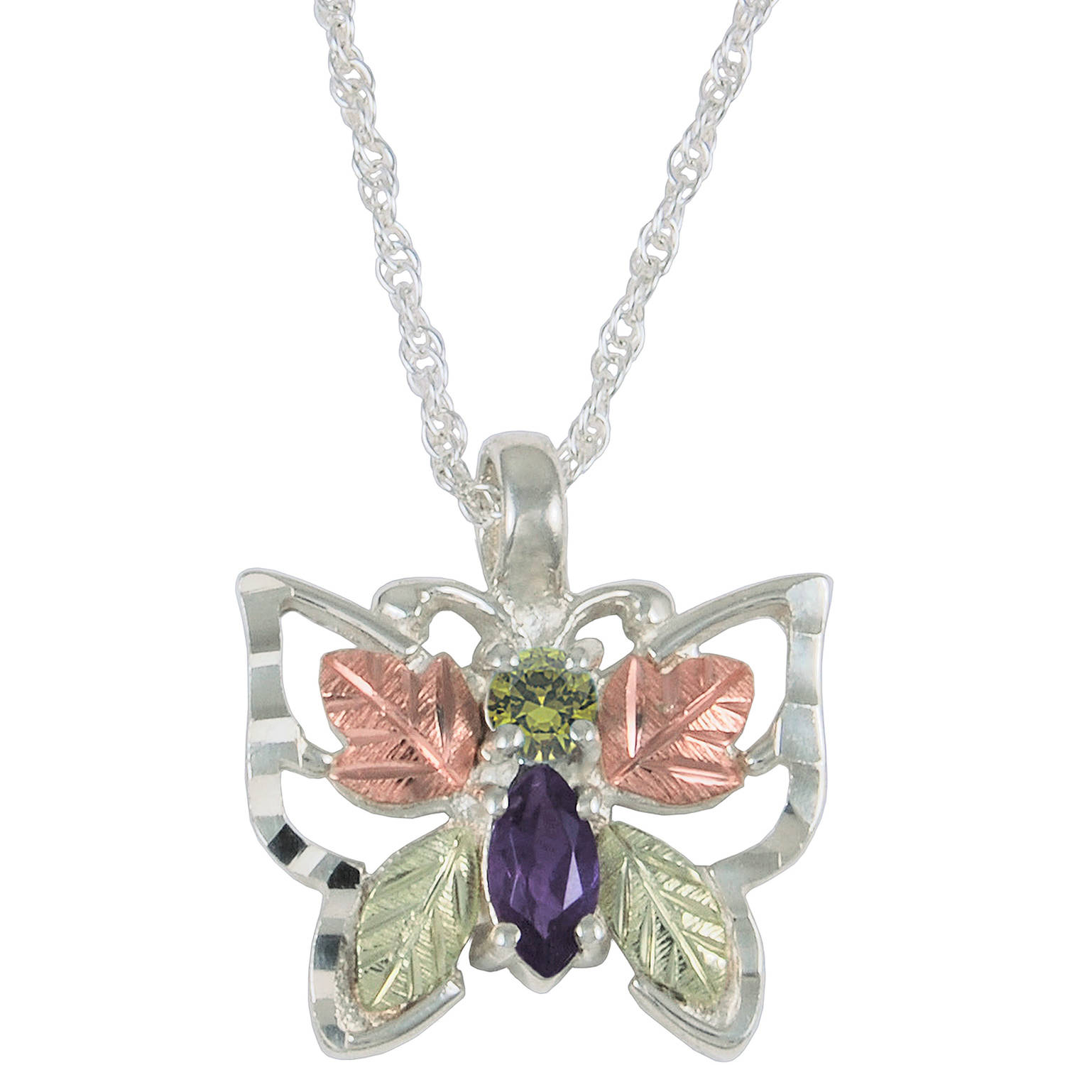 Black Hills Gold Jewelry by Coleman Co. Peridot and Amethyst 10kt and 12kt Black Hills Gold and Sterling Silver Butterfly Pendant, 18""