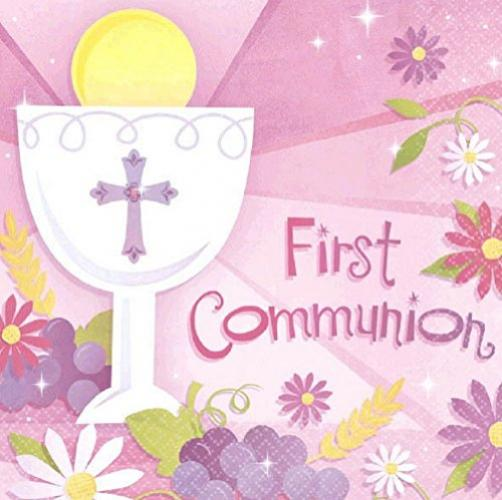 "Amscan First Communion Lunch Religions Party Disposable Napkins (36 Piece), Pink, 6.5"" x 6.5"""