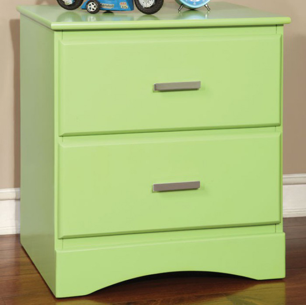 Prismo Transitional Style Night Stand, Green