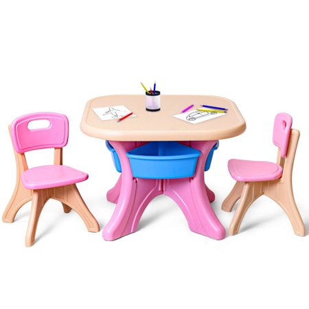 Gymax Plastic Children Kids Table & Chair Set 3 PC Play Furniture