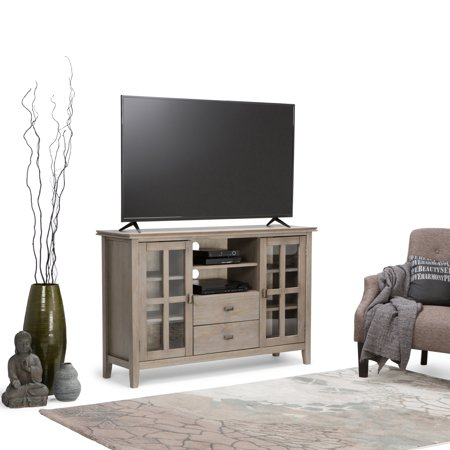 WyndenHall  Stratford Solid Wood 53 inch Wide Contemporary TV Media Stand in Distressed Grey For TVs up to 55 inches ()