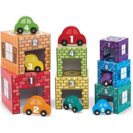 Melissa & Doug Nesting & Sorting Garages & Cars (Developmental Toys, Match-and-Stack Set, 7 Cars & Garages)