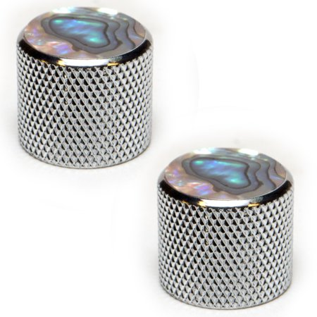 Seismic Audio Chrome and Pearloid Knurled Metal Replacement Knobs for Electric Guitar - 2 Pack Silver - SAGA44