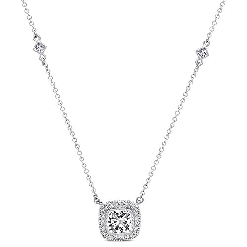 Sterling Silver Micro Pave Cubic Zirconia Cushion Cut Pendant Necklace