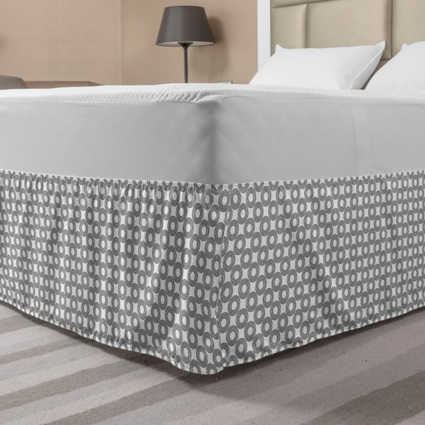 Geometric Circle Bed Skirt Vinyl Records Inspired Concentric Rings Curve Grids Artwork Print Elastic Bedskirt Dust Ruffle Wrap Around For Bedding Decor 4 Sizes Black Grey By Ambesonne Walmart Com Walmart Com