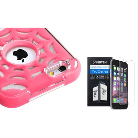 "Insten Pink Spider Web GloCase Hybrid Armor Case For iPhone 6S / 6 4.7""+Screen Protector"
