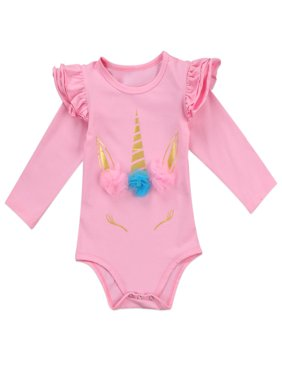 StylesILove Infant Baby Girl Unicorn 3D Ruffle Shoulder Long Sleeve Cotton  Bodysuit (100/18