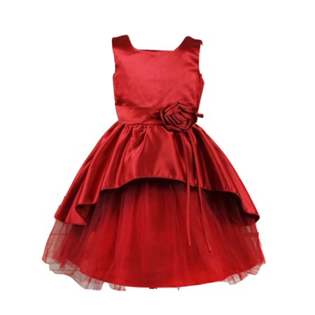 Efavormart Rosy Taffeta Flower Girl Birthday Girl Dress Junior Flower Girl Wedding Party Gown Girls Dress For Wedding Party Events - Dress For Girl