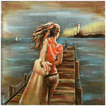 """Empire Art Direct Lighthouse Hand Painted 3D Metal Wall Art, 40"""" x 40"""" x 3.1"""", Ready to Hang"""